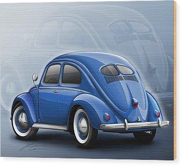 Volkswagen Beetle Vw 1948 Blue Wood Print