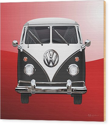 Volkswagen Type 2 - Black And White Volkswagen T 1 Samba Bus On Red  Wood Print by Serge Averbukh