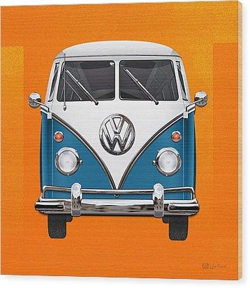 Volkswagen Type 2 - Blue And White Volkswagen T 1 Samba Bus Over Orange Canvas  Wood Print by Serge Averbukh