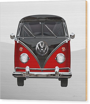 Volkswagen Type 2 - Red And Black Volkswagen T 1 Samba Bus On White  Wood Print by Serge Averbukh