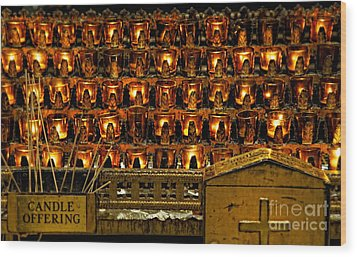 Votive Candles Wood Print by John Greim