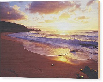 Waimea Bay Sunset Wood Print by Bob Abraham - Printscapes