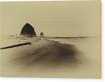 Walking The Beach Wood Print by David Patterson