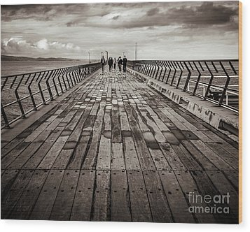 Wood Print featuring the photograph Walking The Pier by Perry Webster