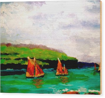 Warm Afternoon Sailing Wood Print by Marie Hamby