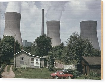 Water Cooling Towers Of The John Amos Wood Print by Everett