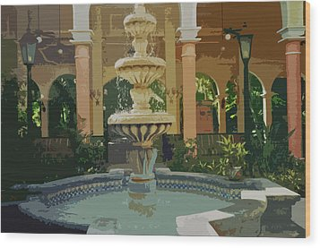 Wood Print featuring the digital art Water Fountain In Mexico by Tammy Sutherland
