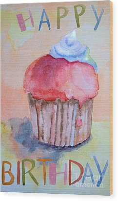 Watercolor Illustration Of Cake  Wood Print