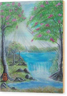 Waterfall Wood Print by Tony Rodriguez
