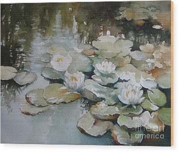 Wood Print featuring the painting Waterlilies by Elena Oleniuc