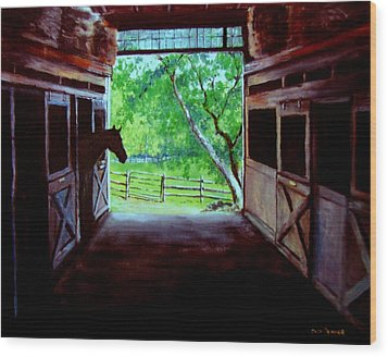 Water's Edge Farm Wood Print by Jack Skinner