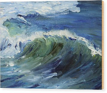 Wave Action Wood Print by Michael Helfen