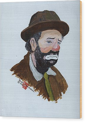 Weary Willie The Clown Wood Print by Arlene  Wright-Correll