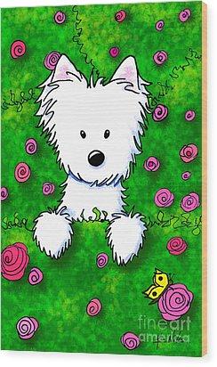 Westie In Roses Wood Print