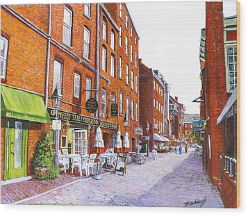 Wharf Street Portland Maine Wood Print by Thomas Michael Meddaugh