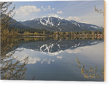 Whistler Blackcomb Green Lake Reflection Wood Print by Pierre Leclerc Photography