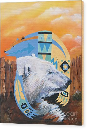 White Bear Goes Southwest Wood Print