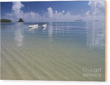 White Double Hull Canoe Wood Print by Joss - Printscapes