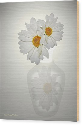 White On White Daisies Wood Print by Joyce Dickens
