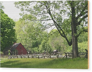 Wick Farm At Jockey Hollow Wood Print by Living Color Photography Lorraine Lynch
