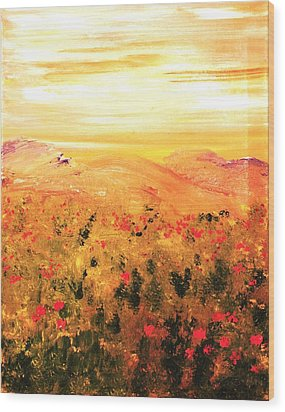 Wood Print featuring the painting Wild Roses by Evelina Popilian