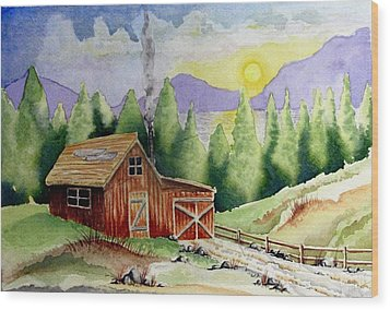 Wilderness Cabin Wood Print by Jimmy Smith