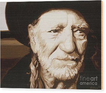 Wood Print featuring the painting Willie Nelson by Ashley Price