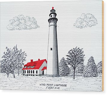 Wind Point Lighthouse Wood Print by Frederic Kohli