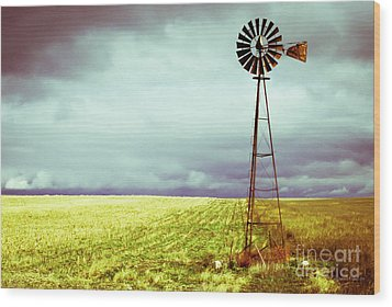 Windmill Against Autumn Sky Wood Print by Gordon Wood