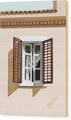 Window Above Athens - Prints From Original Oil Painting Wood Print