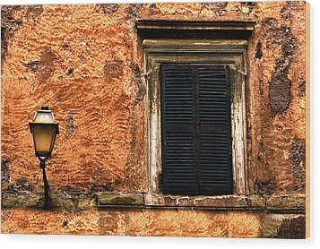 Window And Lamp Rome Italy Wood Print by Xavier Cardell