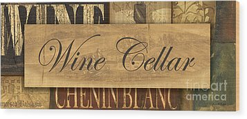 Wine Cellar Collage Wood Print by Grace Pullen