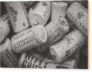 Wine Corks Black And White Wood Print