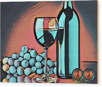 Wine Glass Bottle And Grapes Abstract Pop Art Wood Print