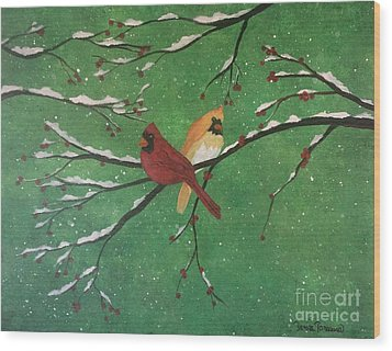 Wood Print featuring the painting Winter Cardinals by Denise Tomasura