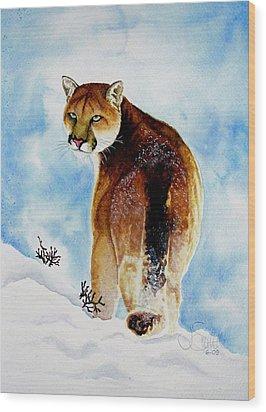 Winter Cougar Wood Print