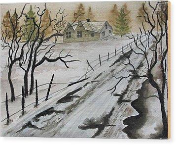 Winter Farmhouse Wood Print by Jimmy Smith