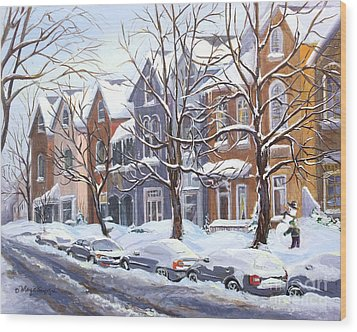Winter In The City  Wood Print by Margit Sampogna
