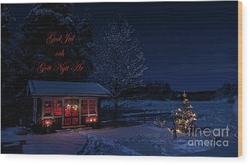 Wood Print featuring the photograph Winter Night Greetings In Swedish by Torbjorn Swenelius