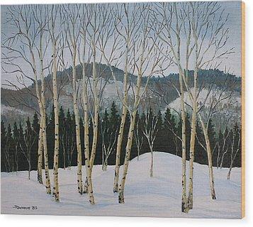 Winter Poplars Wood Print by Richard De Wolfe