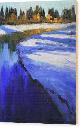 Wood Print featuring the painting Winter River by Nancy Merkle