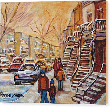 Winter Walk In Montreal Wood Print by Carole Spandau