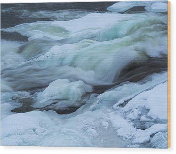 Winter Waterfall Wood Print