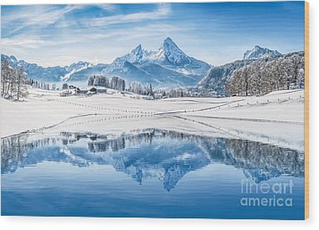Winter Wonderland In The Alps Wood Print