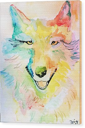 Wood Print featuring the painting Wolfie by Denise Tomasura