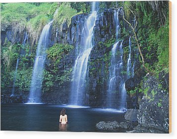 Woman At Waterfall Wood Print by Dave Fleetham - Printscapes
