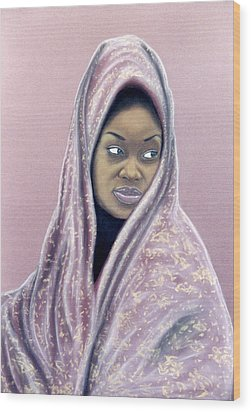 Wood Print featuring the pastel Woman Of The Dust by Jan Amiss