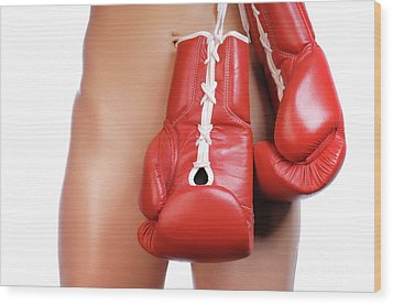 Woman With Boxing Gloves Wood Print by Oleksiy Maksymenko