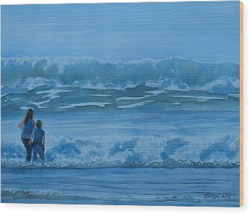 Women In The Surf Wood Print by Jenny Armitage