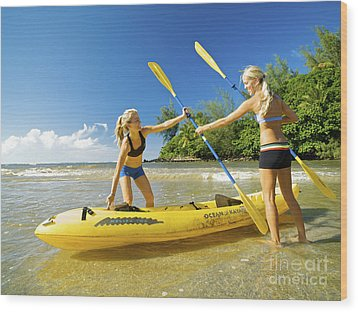Women Kayakers Wood Print by Kicka Witte - Printscapes